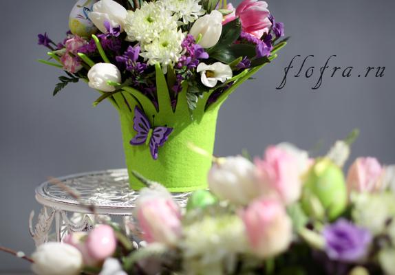 пасха цветы аранжировка кемерово флористика дизайн букет корзина
