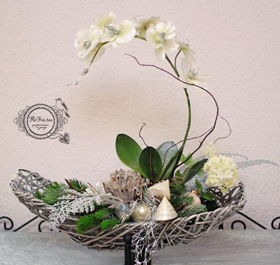 цветочное украшение новый год витрина магалин подарок презент дизайн аранжировка цветы флористика www.flofra.ru.jpg 2