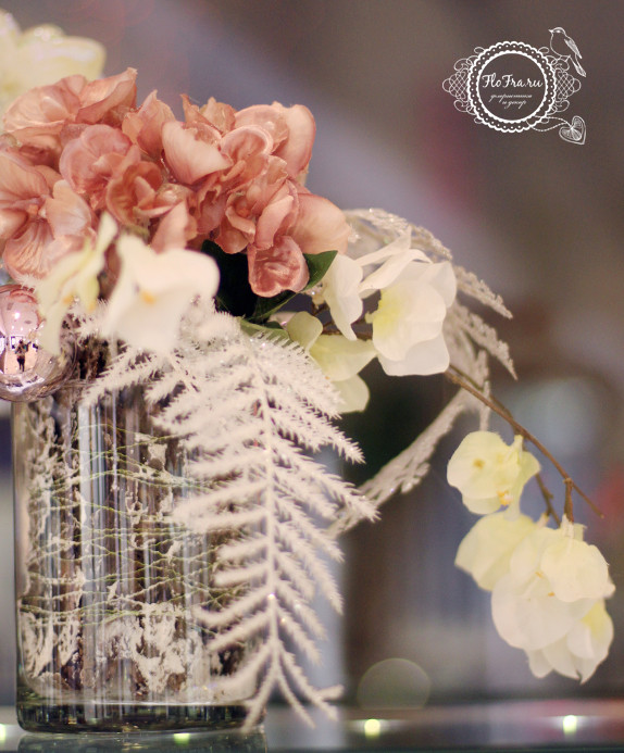 витрина новый год украшение дизайн флористика цветы кемерово дизайн интерьер ваза www.flofra.ru