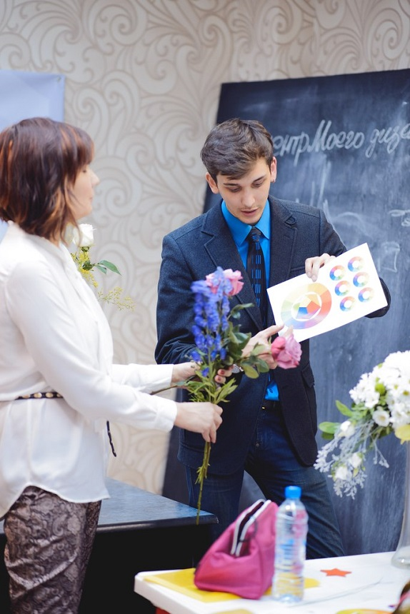 мастер класс по флористику уроки цветы обучение в кемерово www. flofra.ru семинар колористика теория  обучение в кемерово
