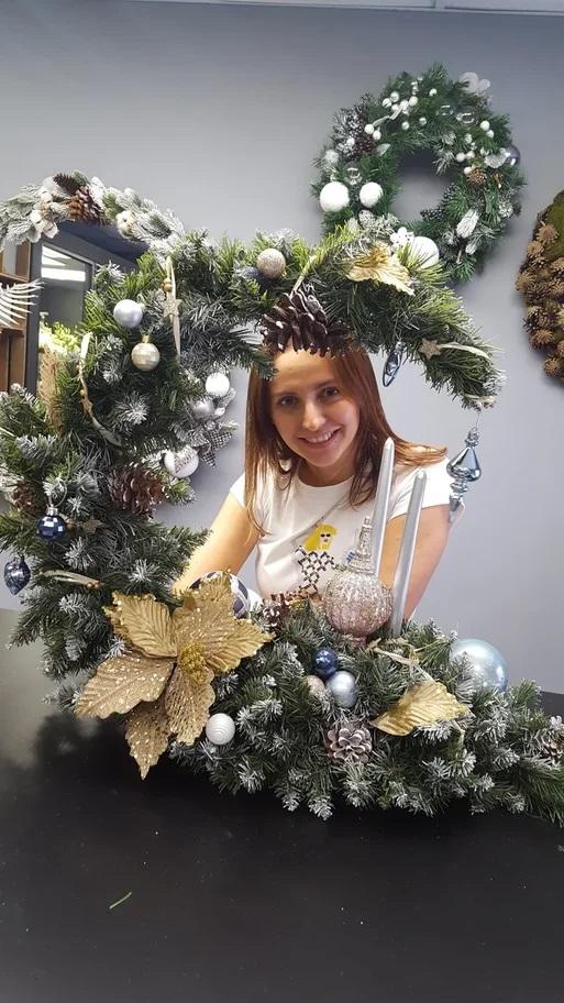 Christmas decor composition floristry lesson decoration www.flofra.ru цветы курсы декора композиция новый год на стол